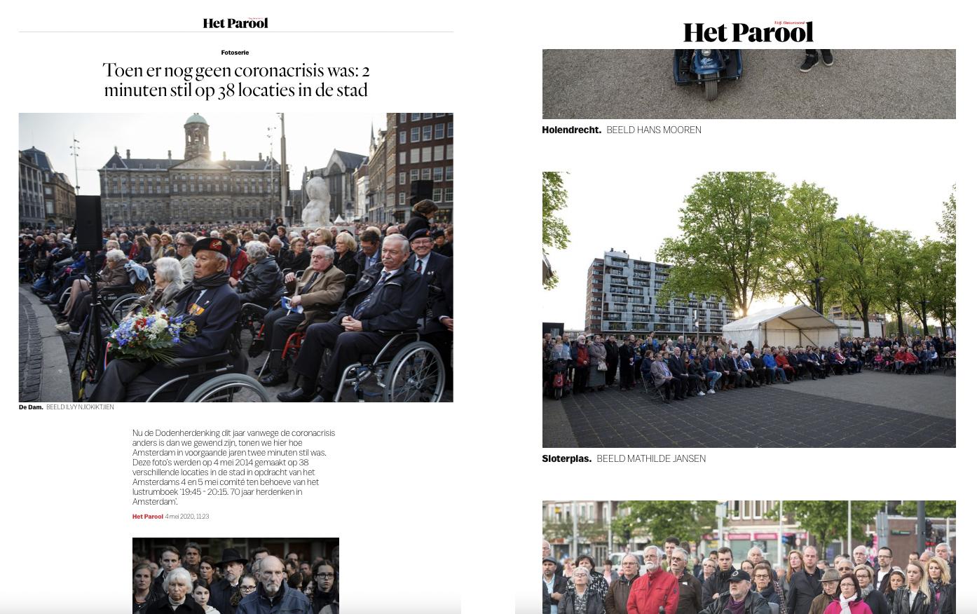 Parool publicatie (Dodenherdenking Comité 4 en 5 mei) mei 2020